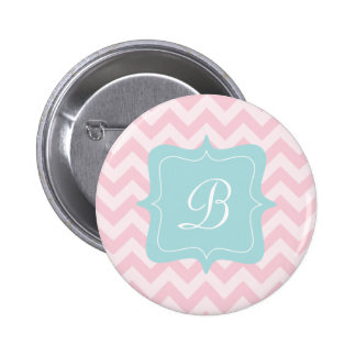 Pink Zigzag Monogram Pinback Button