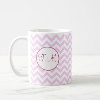 Pink Zigzag Monogrammed Coffee Mugs