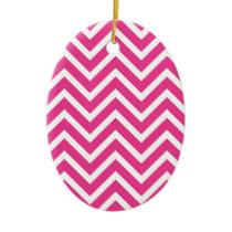 Pink Zigzag pattern Ceramic Ornament