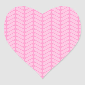 Pink Zigzag Pattern inspired by Knitting. Heart Sticker