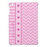 Pink Zigzag Stripes and Hearts iPad Mini Case