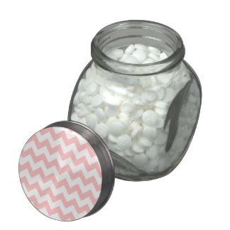 Pink Zigzag Stripes Chevron Pattern Girly Glass Jar