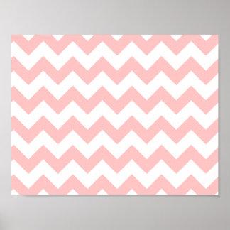 Pink Zigzag Stripes Chevron Pattern Girly Poster