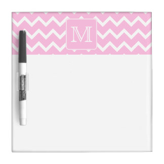 Pink Zigzags with Custom Monogram. Dry Erase Whiteboard