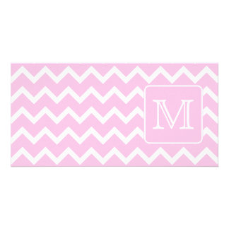 Pink Zigzags with Custom Monogram. Photo Card
