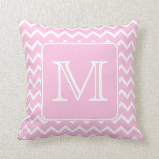 Pale Pink Decorative Pillows : Pink Zigzags with Custom Monogram. Pillows