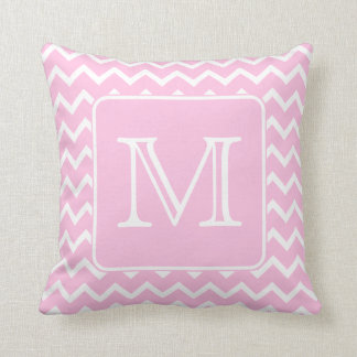 Pink Zigzags with Custom Monogram. Throw Pillow