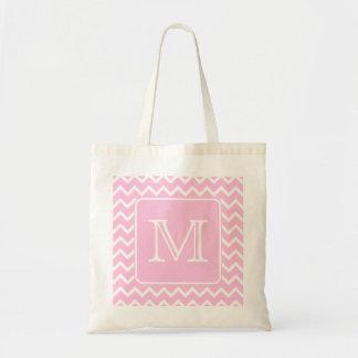 Pink Zigzags with Custom Monogram. Tote Bag