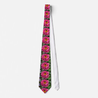 Pink Zinnia and Bumble bee Neck Tie