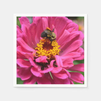 Pink Zinnia and Bumble bee Paper Napkin
