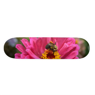 Pink Zinnia and Bumble bee Skateboard