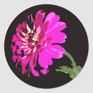 Pink Zinnia Floral Photography Design Classic Round Sticker