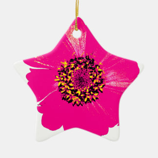 Pink Zinnia Flower Ceramic Ornament