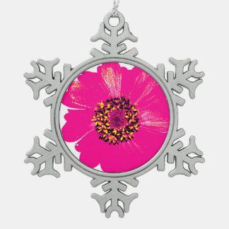 Pink Zinnia Flower Snowflake Pewter Christmas Ornament