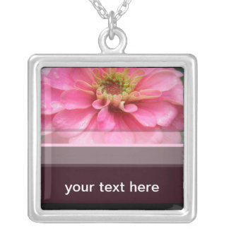 Pink Zinnia Flower Square Pendant Necklace