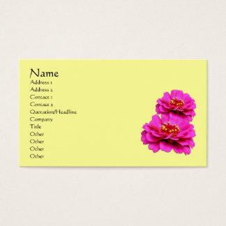 Pink Zinnia Flowers Business Card