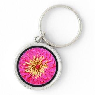 Pink Zinnia keychain