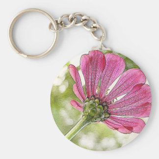 Pink Zinnia reaching for the sky Keychain