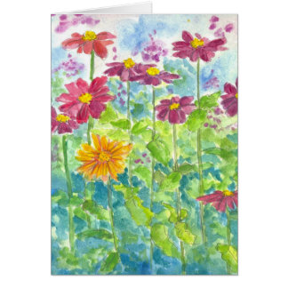 Pink Zinnia Wildflower Watercolor Blank Note Card