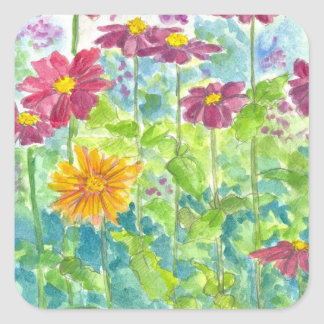 Pink Zinnia Wildflower Watercolor Garden Square Sticker