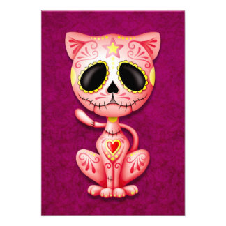 Pink Zombie Sugar Kitten Cat Custom Announcement