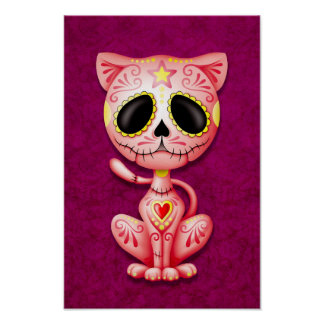 Pink Zombie Sugar Kitten Cat Poster