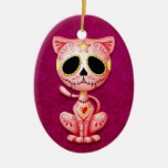 Pink Zombie Sugar Kitten Ceramic Oval Ornament