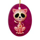 Pink Zombie Sugar Kitten Christmas Tree Ornament