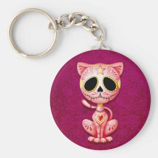 Pink Zombie Sugar Kitten Basic Round Button Keychain