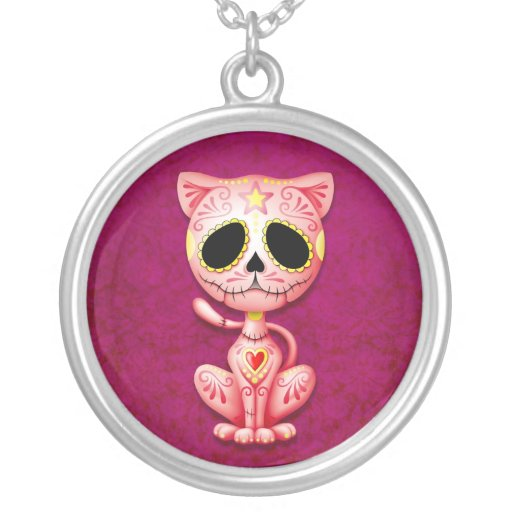 Pink Zombie Sugar Kitten Personalized Necklace