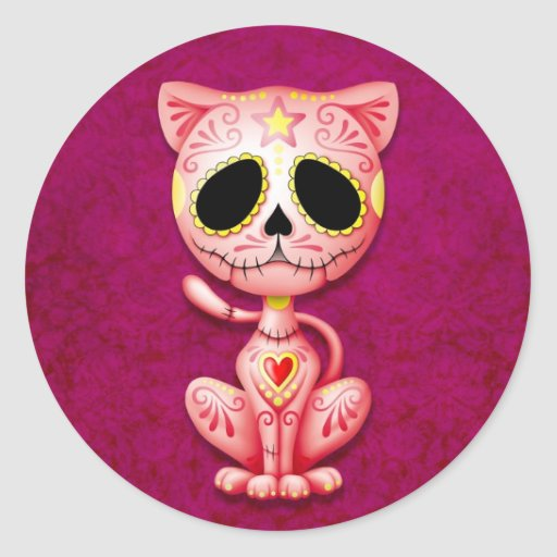 Pink Zombie Sugar Kitten Round Stickers