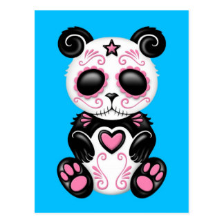 Pink Zombie Sugar Panda on Blue Postcards