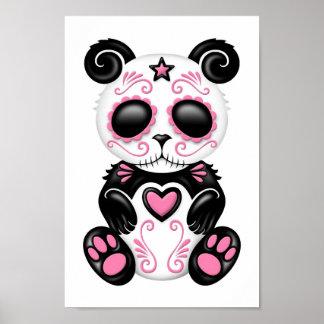 Pink Zombie Sugar Panda on White Poster