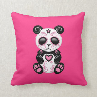 Pink Zombie Sugar Panda Throw Pillow