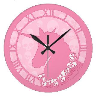 Pink Zombie Unicorn Large Clock