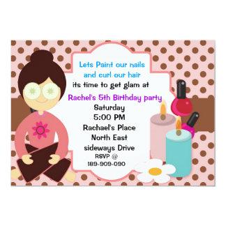 Pinka polka dots and chocolate spa party invitatio 5x7 paper invitation card