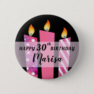 Pinkadelic Candles Add Name Age Birthday Gift Button