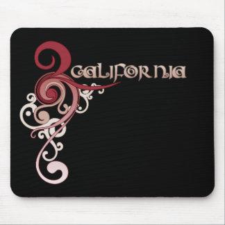 PinkCurlySwirl_California Dark Mouse Pad
