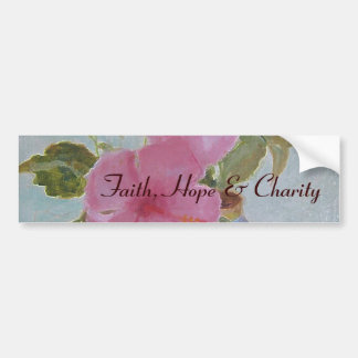 pinkflowers,  Faith, Hope & Charity Bumper Sticker