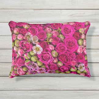 pinkflowers outdoor pillow