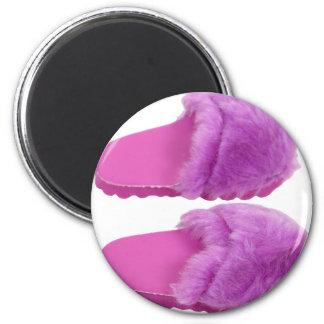 PinkFuzzySlippers030310 2 Inch Round Magnet