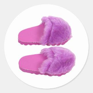 PinkFuzzySlippers030310 Classic Round Sticker
