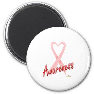 PinkHeartRibbonAwareness Imán Redondo 5 Cm