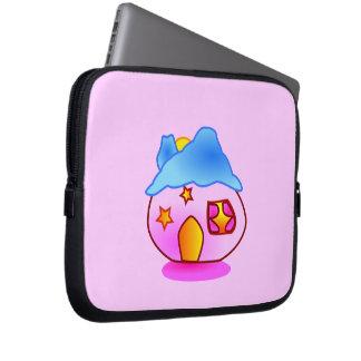 pinkhome_Vector GIRLY CUTE PINK CARTOON HOME STARS Laptop Computer Sleeve