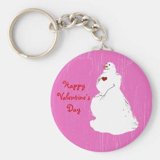pinkice, valentinesnowman, el día de HappyValentin Llavero