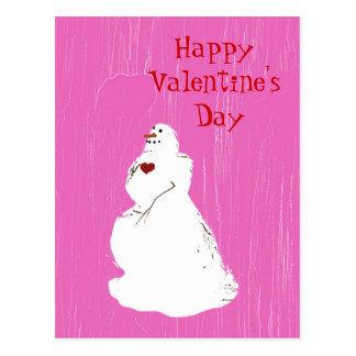 pinkice, valentinesnowman, Happy Valentine's Day Postcard