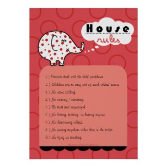 Pinkie Elephant House Rules Large Poster