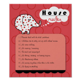 Pinkie Elephant House Rules Poster