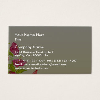 Pinkish flowers and yellow leaves business card