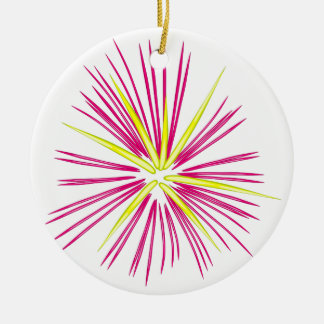 Pinkish-Purple and Gold Fireworks Double-Sided Ceramic Round Christmas Ornament